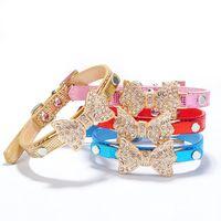 Black basic grains - Beautiful crystal diamond bow crocodile grain pet collar dog collar dog chain Bling Crystal Bow Leather Cat Necklace