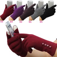 Wholesale Hot Sales Women Lady Touch Screen Gloves Mittens Cashmere Blends Weaved Knit Winter Warm Fashion EA5