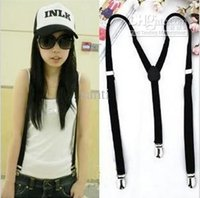 Wholesale Women Clip on Braces Elastic Y back Suspenders Dof black