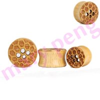 Wholesale 2015 Hot Sale Honeycomb Pattern Wood Ear Gauges Romantic Style Ear Tunnels Plug in Piercing Plugs Tunnels