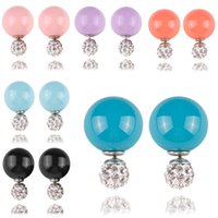 Wholesale Many Colors Mixed Double Side Candy colours Shining Pearl Earrings with small Shambhala crystal Earrings gift For Women girls