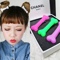color rubber hair bands - 2015 new Korean version of the Korean Harajuku style dog bone fashion fluorescent color hairpin side clip hair ring