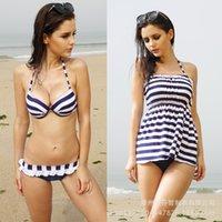 Cheap 3-piece Sexy Bikinis Set Best Navy striped Swimsuit