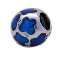 Crystal bead glaze - New Blue Glaze Butterfly Sterling Silver Beads For Necklace European Charms fit Bracelets Snake Chain DIY Jewelry