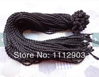 Wholesale inch mm black twist silk necklace cord with a loop and knot
