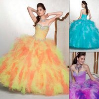 affordable vintage fashion - Colorful Quinceanera Ball Gowns Dresses Vestido De Debutante Sweetheart Floor Length Puffy Ruffles Fashion Sweet Dress Affordable