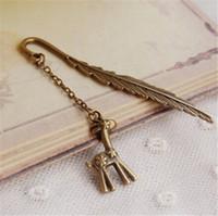 Wholesale Vintage Bronze Bookmark Deer Feather Wine Pot Phenix Key Mermaid Bookmarks Metal Bookmarks Chirstmas Friends Birthday Gifts K548