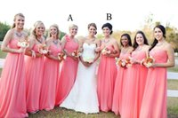awesome image - 2017 Awesome Coral Bridesmaid Dresses A Line Sweetheart One Shoulder Chiffon Maternity Bridesmaid Dresses Long Maid of Honor Dresses Cheap