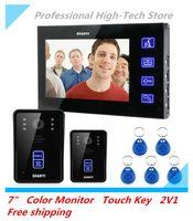 Wholesale 7 quot Color Monitor Video Door Phone Doorbell Video Door Bell Intercom Touch Key System IR Camera V1