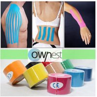 Wholesale 12 Colors cm x m Sports Kinesiology Tape Kinesio Roll Cotton Elastic Adhesive Muscle Bandage Strain Injury Support NAR002