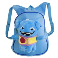 aliens cartoon characters - 100pcs LJJC2061 Hot Fashion Cartoon Home Crazy Alien Backpack Baby School Shoulder Bags Cute OH Children Backpacks Small Plush Backpack