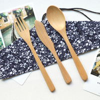 Wholesale Flatware Sets Spoon Fork Knife Wooden Dinnerware Children Dinnerware Burlywood Spoon cm Fork cm Knife cm set