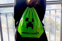 Wholesale New fashion Waterproof Minecraft Creeper Backpack Draw string bag Pouch Canvas Double Shoulder Bag CmX37cm