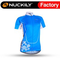 Wholesale Nuckily Blue lake short sleeve bicycle breathable cycling jersey China quick drying female bicycle short sleeve top NJ516