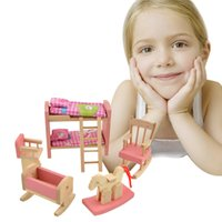 Wholesale Brand Baby Kids Wooden Doll Bathroom Furniture Bunk bed Doll house Miniature For Kids Child Play Toy