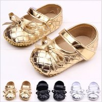 Wholesale 2016 NEW baby walker shoes girls shoes Children s girl GOLD PU leather bow pleated infant toddler lady princess A9