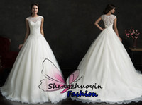 Cheap Hot 2015 Amelia Sposa Elegant Jewel A-Line Wedding Dresses White Tulle Capped Sleeveless Lace Beads Covered Button Court Train Bridal Gowns