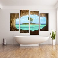 art painting ideas - 4 Panel cave seacape living rooms set Wall painting print on canvas for home decor ideas paints on Wall pictures art No framed