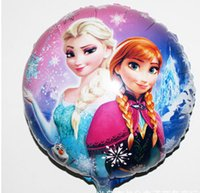 Wholesale HOT selling new Cartoon Frozen Anna Elsa Sets cmx45cm bubble hydrogen balloon balloons party decoration foil balloons QIU001