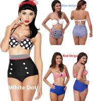vintage swimwear - 2015 Retro High Waisted Bikini Push up Padded Swimsuit With Black White Polka Dot Vintage Bathing Suit Straps Swimwear Stripe Beachwear
