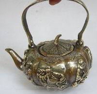 antique copper kettles - Antique copper kettle portable flagon Eight Immortals Decoration Qing imperial tea TQ