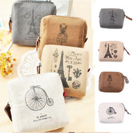 Wholesale Classic Retro Canvas coin purses vintageTower Wallet Card Key Coin Purse Bag Pouch Case pattern for Women Girl