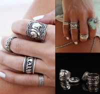 antique wedding ring set - Vintage Punk Ring Set Unique Carved Antique Silver Elephant Totem Leaf Lucky Rings for Women Boho Beach Jewelry R81