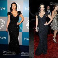 Cheap Good Design New Fashion Kim Kardashian Sexiest Black Lace Celebrity Dress Evening Dresses 2016 Beaded Prom Dresses