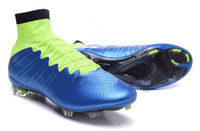 Wholesale NEWEST cheap Superfly IV real carbon fiber soccer cleats men women football boots Blue Lagoon White Volt Black NOT star Edition