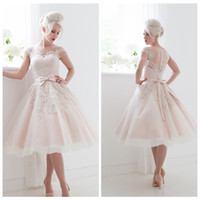 Wholesale Champagne Lace Applique Wedding Dress Cap Sleeves Knee Length s Styles A Line Bridal Gowns Spring Illusion Sheer Back Wedding Gown