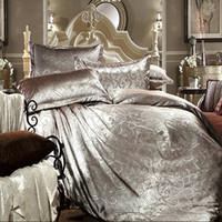 Wholesale Golden Luxury satin jacquard tribute silk bed linen bedding set comforter duvet cover Khaleesi King Size
