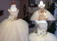 big girl bridesmaid dresses - bridesmaid dresses Ball Gown Girls Pageant Dress With Big Bow Champagne Satin Tulle Puffy Flower Girl Dress Kids Wedding Dress