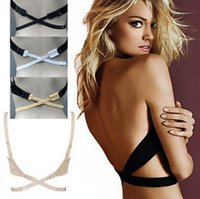 adapter cross - Woman Low Back Backless Bra Strap Extender Adapter Crossed Belt for Party Evening Dress Bra extend Strap anti slip shoulder strap Seamless