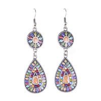beaded dangle earrings - Vintage Bohemian Drop Dangle Earrings Mix Color Resin Beaded Silver Plated Long Earrings for Women EH0177