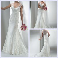 latest bridal wedding gowns - Latest Fleur Tulle Wedding Dresses V Neck Cap Sleeves Stunning Corded Guipure Lace Appliqués Covered Button Bridal Gowns Court Train
