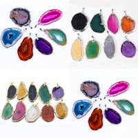 agate slice pendants - Silver Gold Plated Edged Natural Geode Agate slices mixed Colorful Random Druzy Agate Fashion Pendant Jewelry