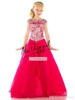 little girls dresses - 2015 New Girl S Pageant Dresses Cap Sleeves Beaded Top Tulle Floor Length Little Flower Girl Dresses