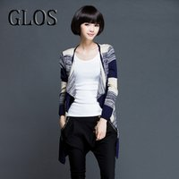 Wholesale GLOS new Autumn Knitted Striped cardigan long sleeve for women Black and Blue V neck Ladies Casual long Sweater Outwear