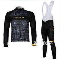 livestrong - factory Professional livestrong team long sleeve cycling jersey and bib pants bicycle jersey bike wear cycle clothing