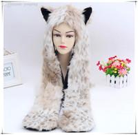 best mens scarves - popular fashion Faux Fur Animal Color Winter Warm Hat Animal Wolf Hood Scarf Gloves Ladies best Girls Mens Christmas Spirit