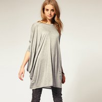 extra long t shirt - 2015 Two Color Fashion Loose Extra Large Long Sleeve O Neck Tops Autumn Hot Casual Solid Irregular Feminina T Shirt Dresses