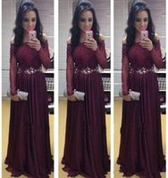 arabic necklaces - 2015 Christmas Evening Prom Dresses With Long Sleeves Burgundy Lace Formal Party Gowns Beaded Sash Arabic Cheap Necklaces Celebrity Dress