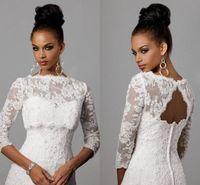 alencon lace jacket - 2016 Off Shoulder Alencon Lace Bolero Jacket Illusion Half Sleeve Covered Button Jackets Bridal Shrug Bride Wraps Wedding Dress CPA325