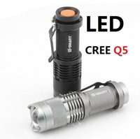 Wholesale CREE XML Q5 LED Use or AA batteries Waterproof Flashlight Torch Adjustable Focus Zoom flash Light Lamp a811