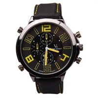 big mark - 2016 Fashion Big Dail Vogue V6 Bubber Band Marks Hour Mark steel Analog Men s Military Casual Watches Gift Relogio Masculino Watch men