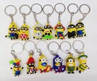 Wholesale 2015 Cartoon D Despicable Me Minions Action Figure Keychain Keyring Key Ring Cute DHL Freeship
