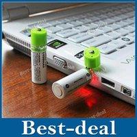 Wholesale 2PCS Portable AA Battery mAh v USB Rechargeable Batteries USB CELL AA Rechargable Battery LED Indicator w Retail Box