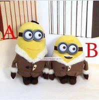 2015 Nuevo En Stock película Despicable Me 3D 3 Ojos esbirros de juguete de felpa suave relleno Muñecas Jorge David Minion Figura Peluches 26cm 32cm