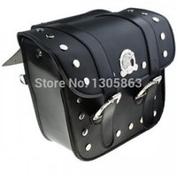 Wholesale universal leather Motorcycle Saddle bags luggage bag motorcycle side bag left right Pouch for Harley piece black
