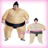 adult sumo suits - Adult Kids Chub Japanese Sumo Suit Inflatable Clothing Blow Up Color Full Body Christmas Halloween Cosplay Costume Jumpsuit Fat